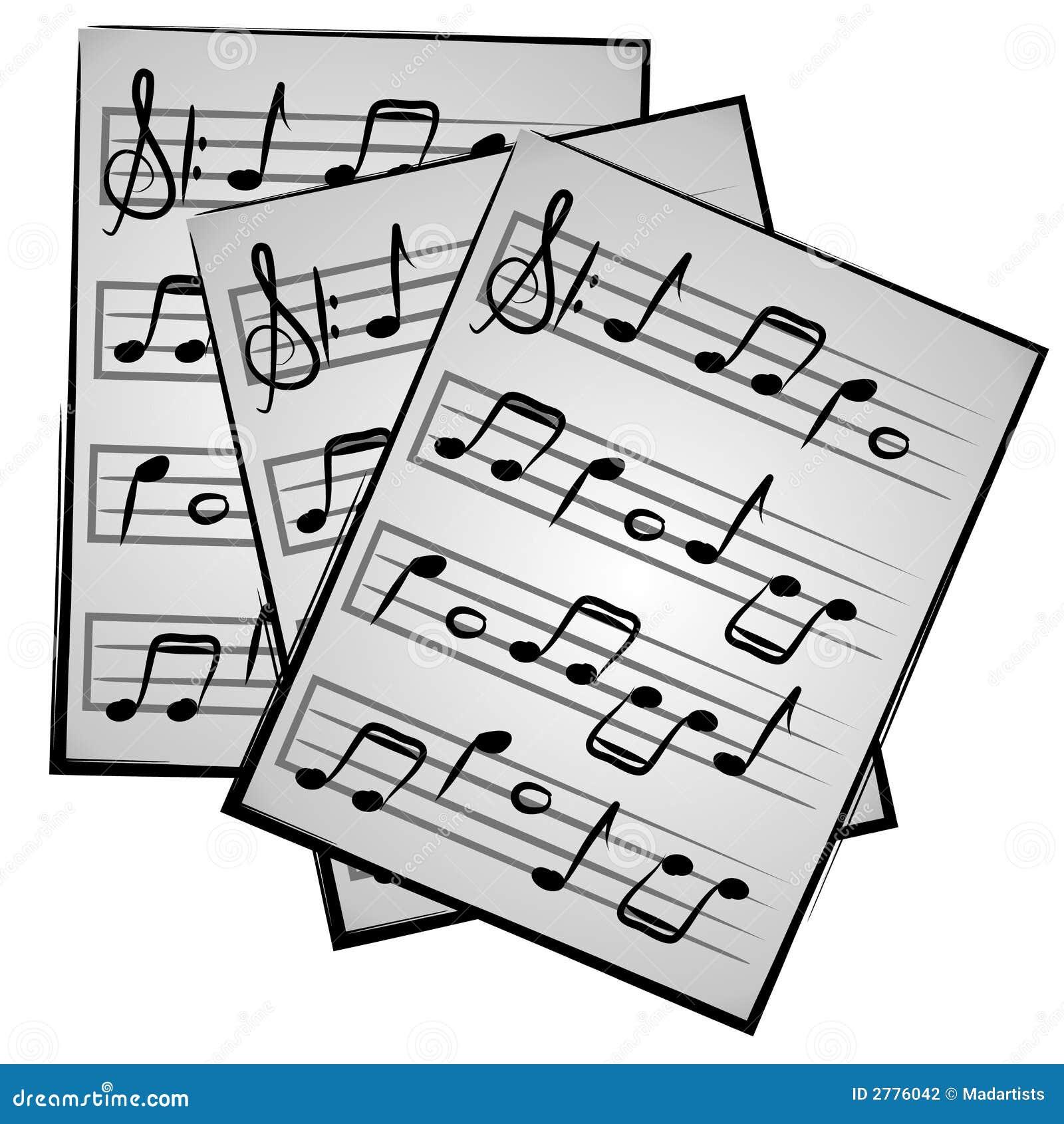 Un'illustrazione degli strati di musica di carta su una priorità ...