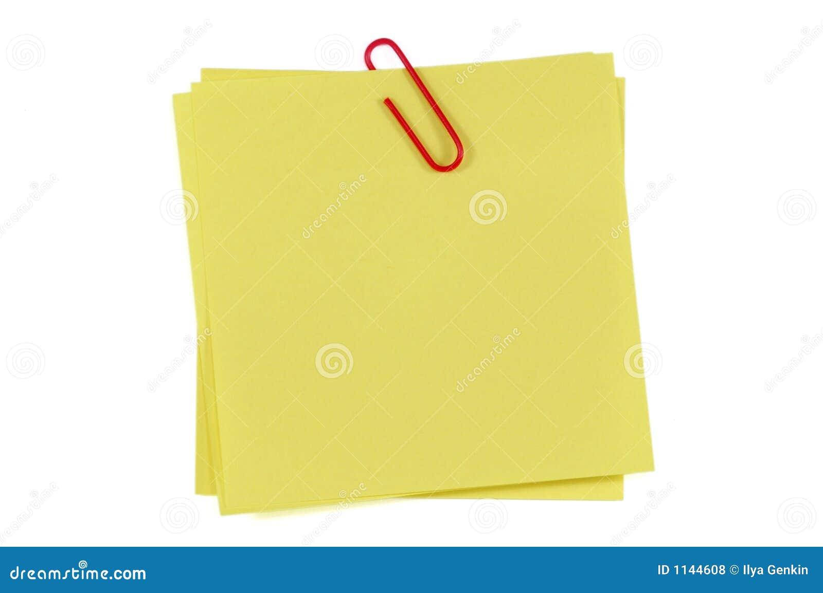 Photos libres de droits: Note et clip de post-it: http://fr.dreamstime.com/photos-libres-de-droits-note-et-clip-de-post-image1144608