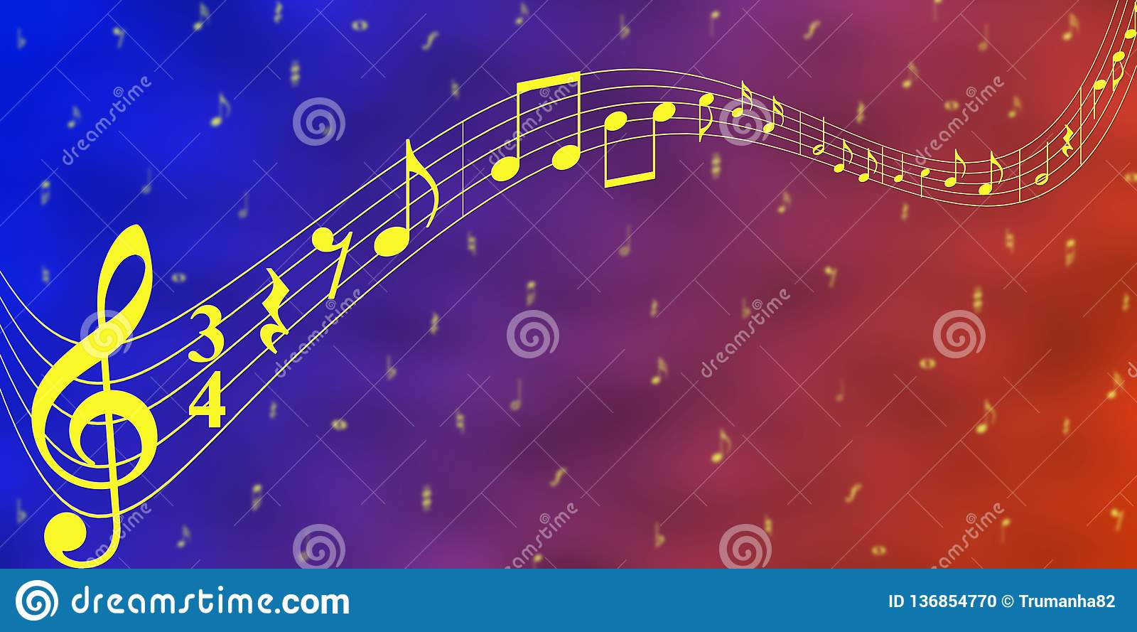 Note gialle di musica nel fondo blu e rosso dell insegna