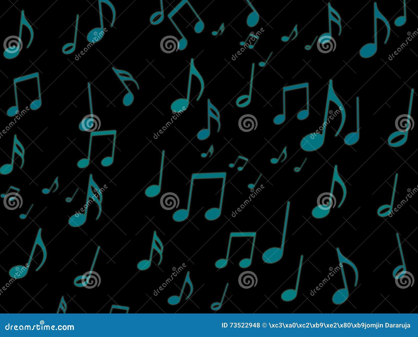 Note musicale bleue sur le papier peint noir d écran