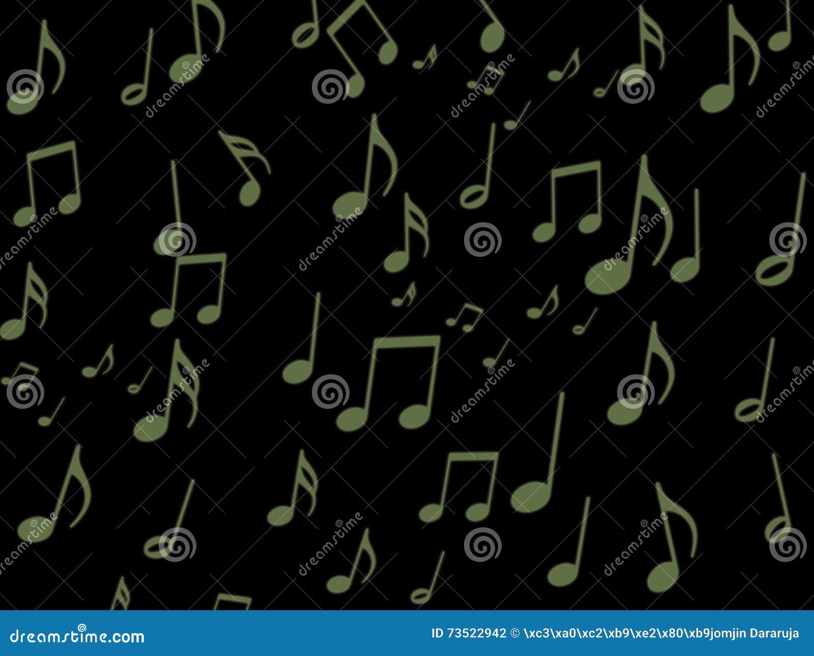 Note musicale verte sur le papier peint noir d écran