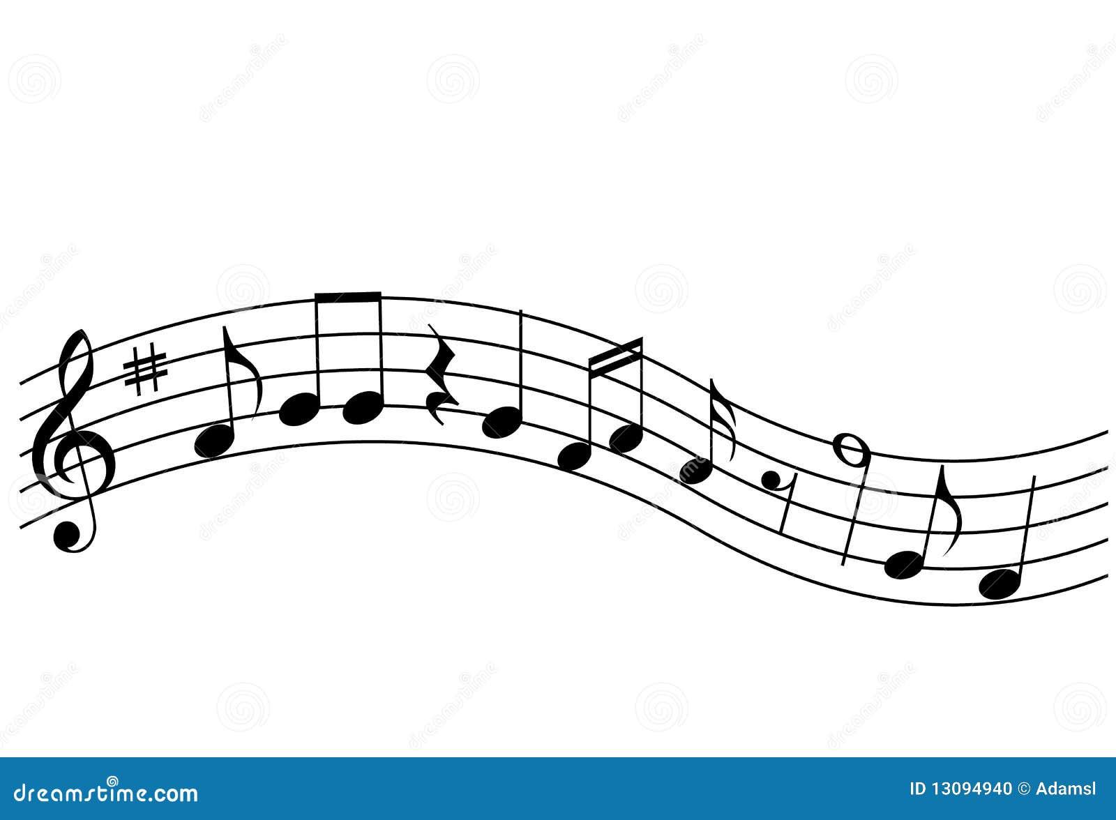 Le note musicali ed il clef triplo firmano su un personale isolato.