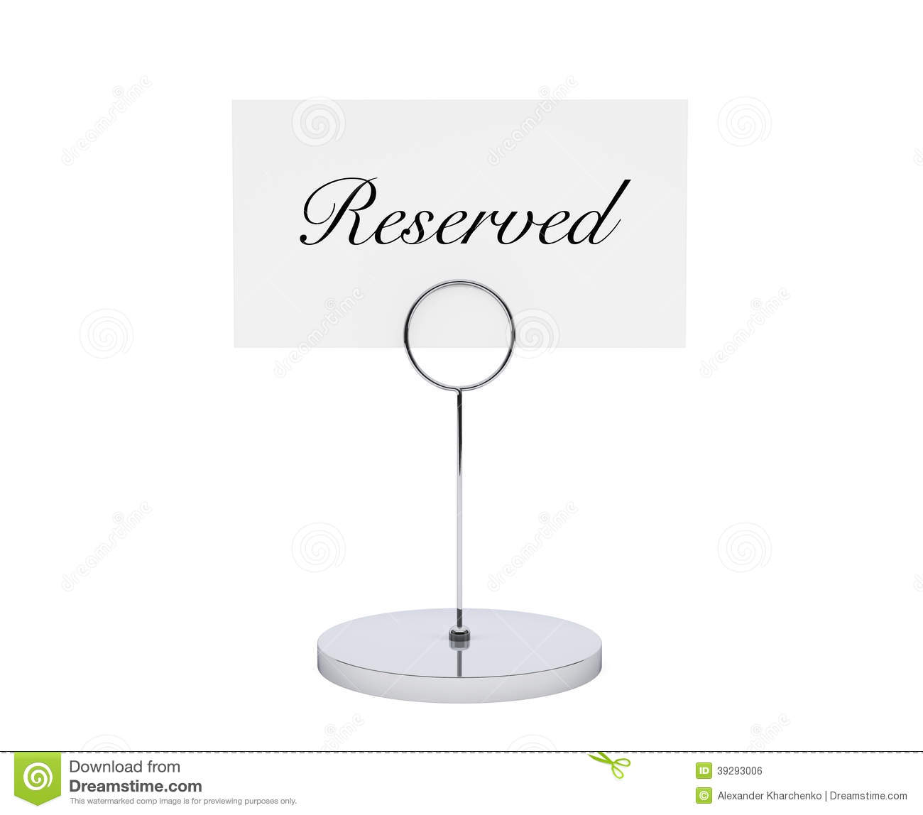 Note paper card holder with reserved sign stock for Table reservation card template