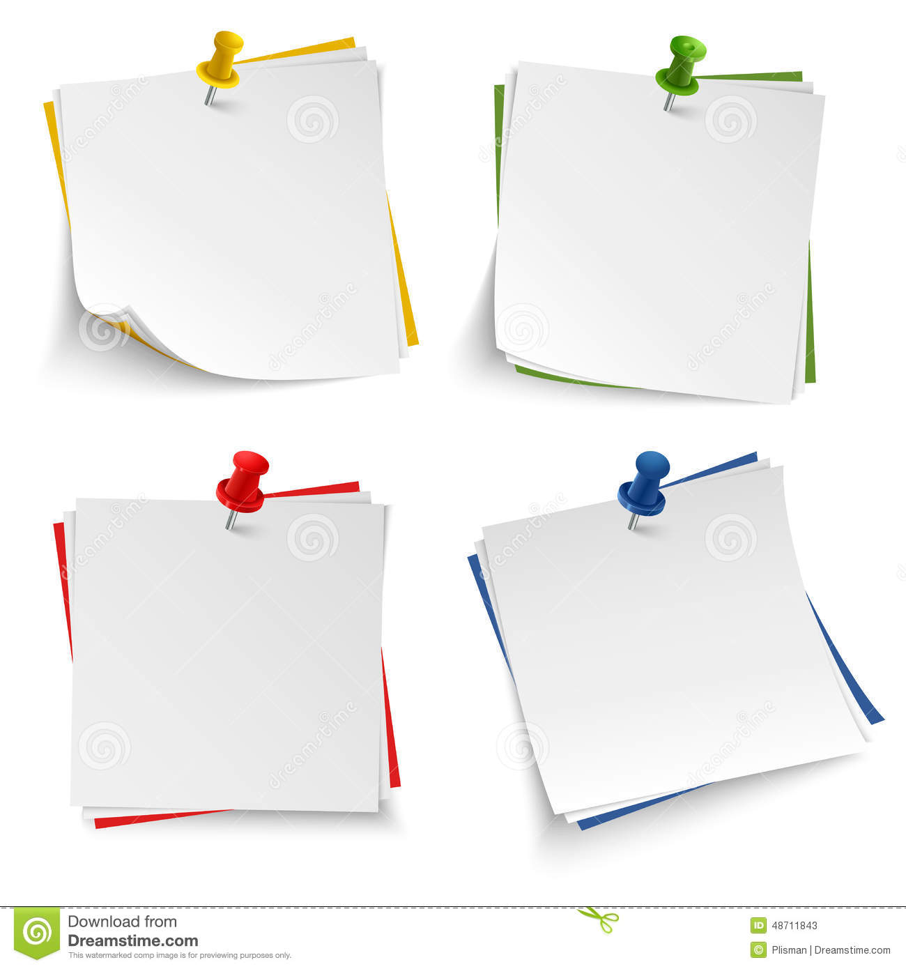 Note Paper With Push Colored Pin Template  Note Template