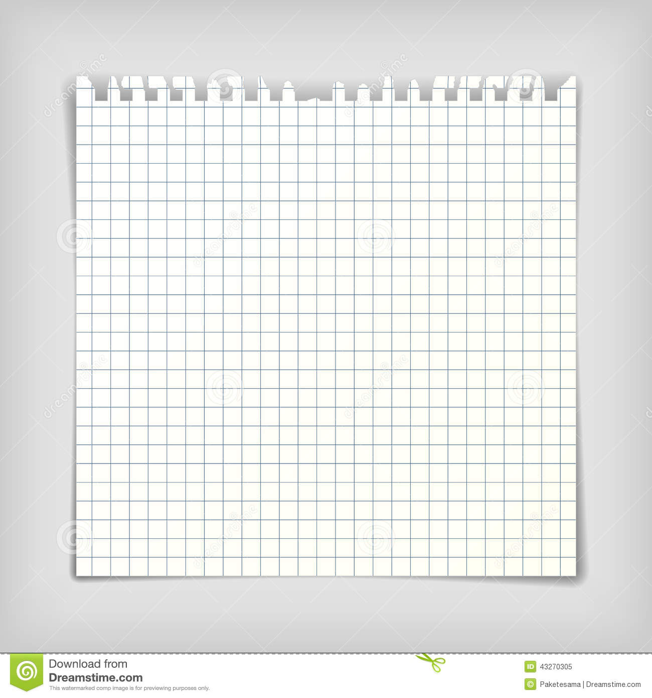Square note paper sheet with squares, realistic vector illustration