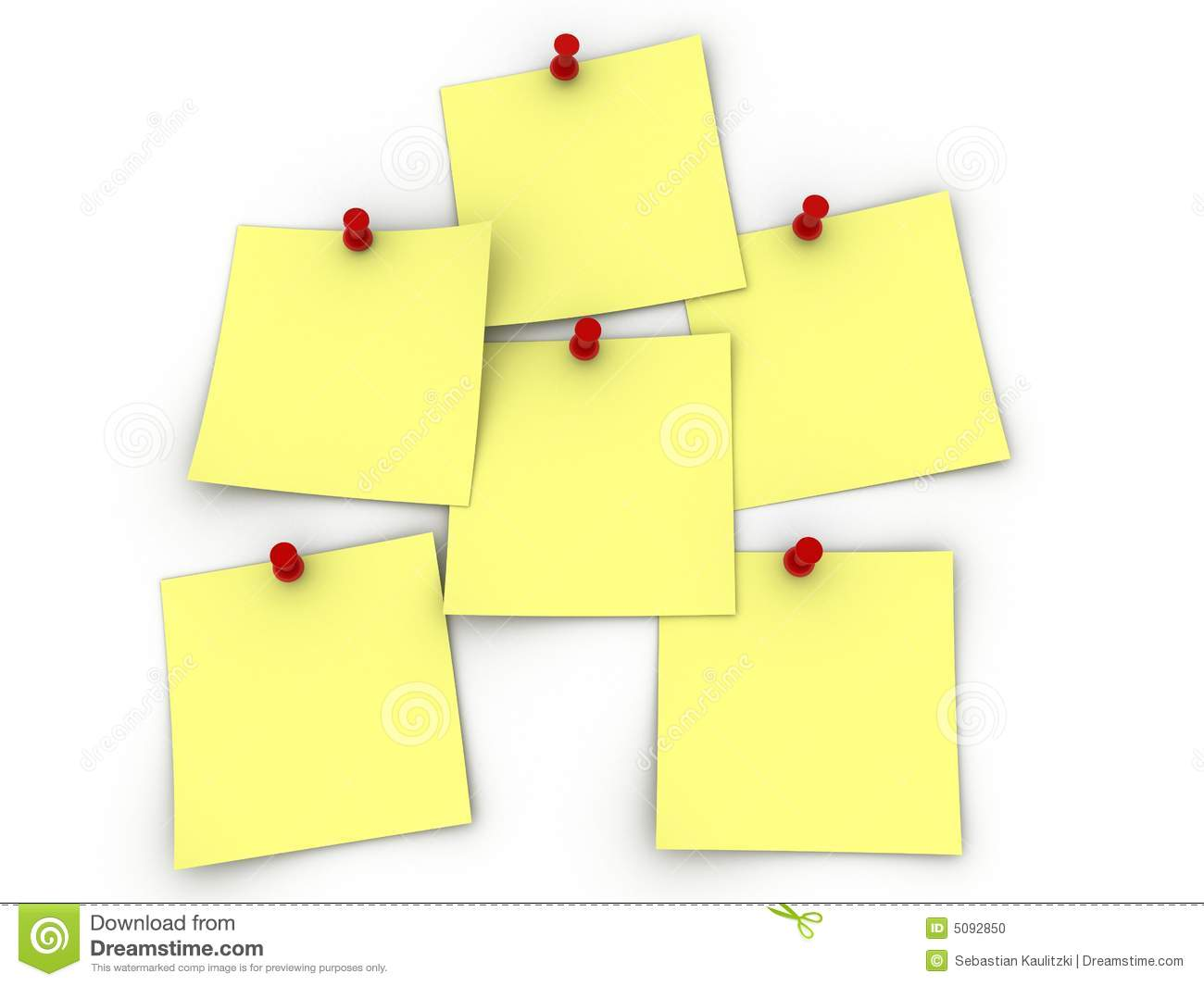 3d rendered illustration of yellow note papers with push pins.