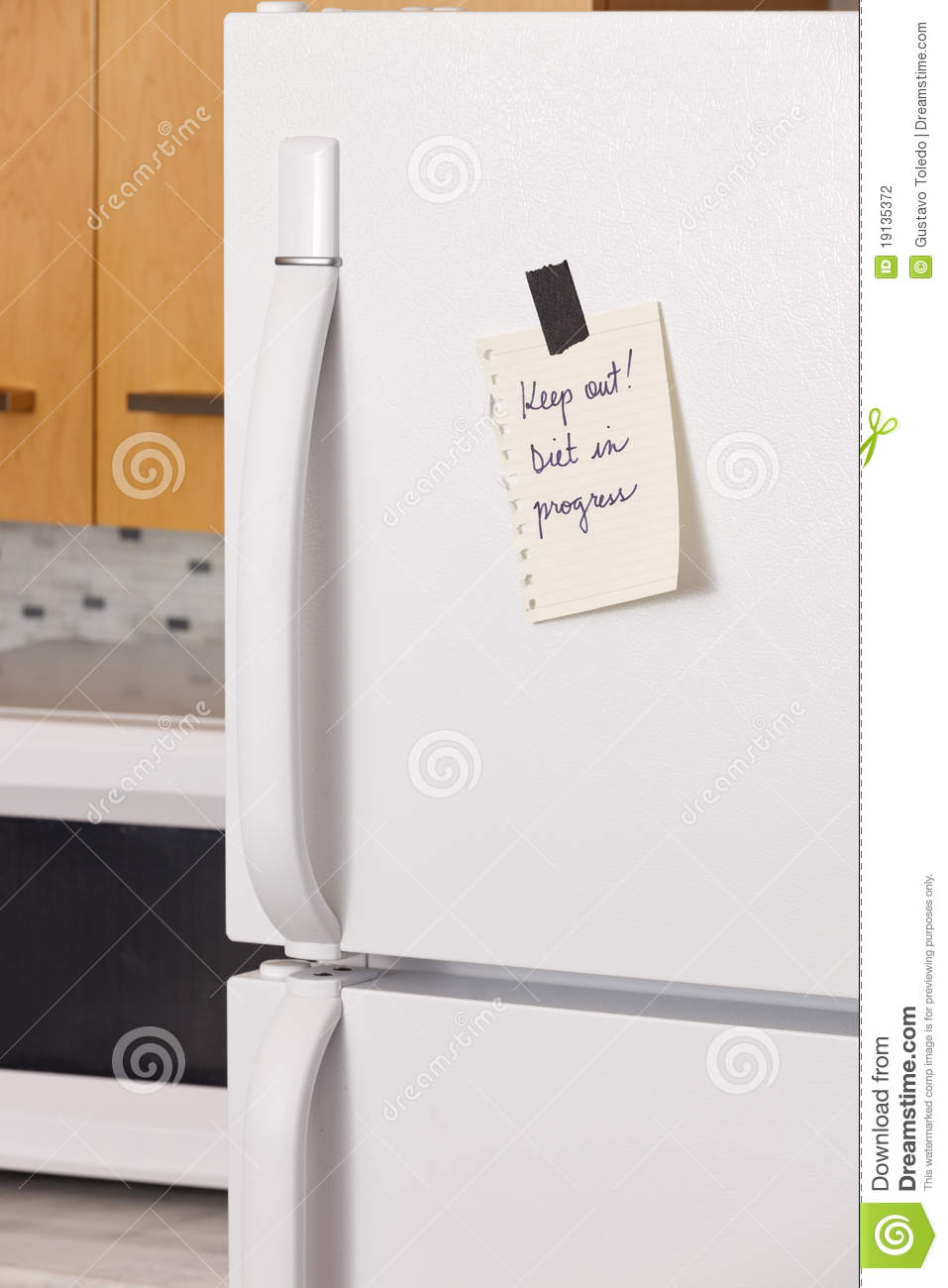 Note On Refrigerator Door Stock Photo Image Of Phrase