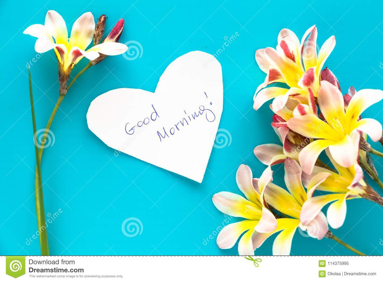 Note In Shape Of Heart With Words Good Morning Stock Image Image