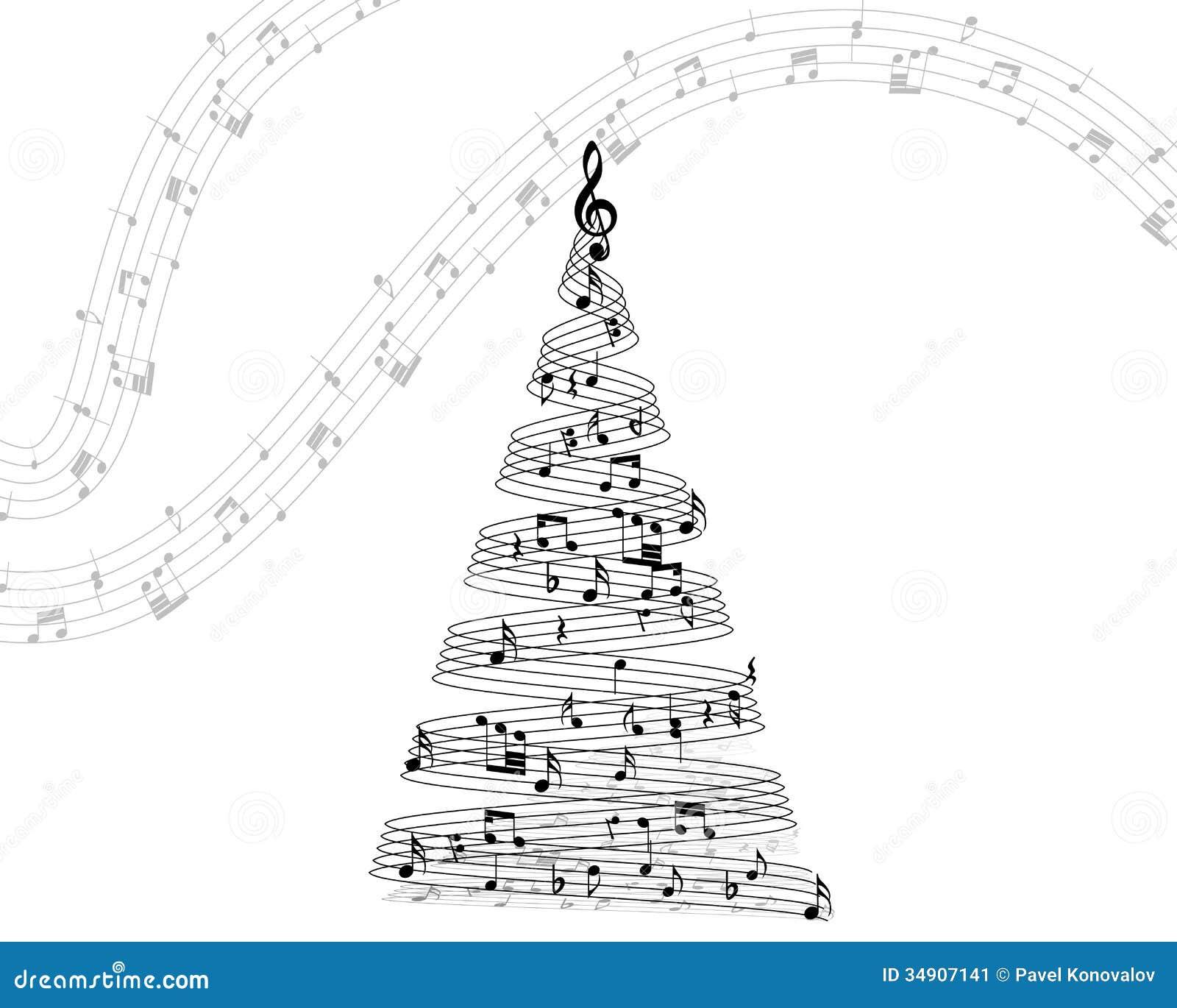 musical note staff on christmas fir vector illustration eps 10 - Black Christmas Music