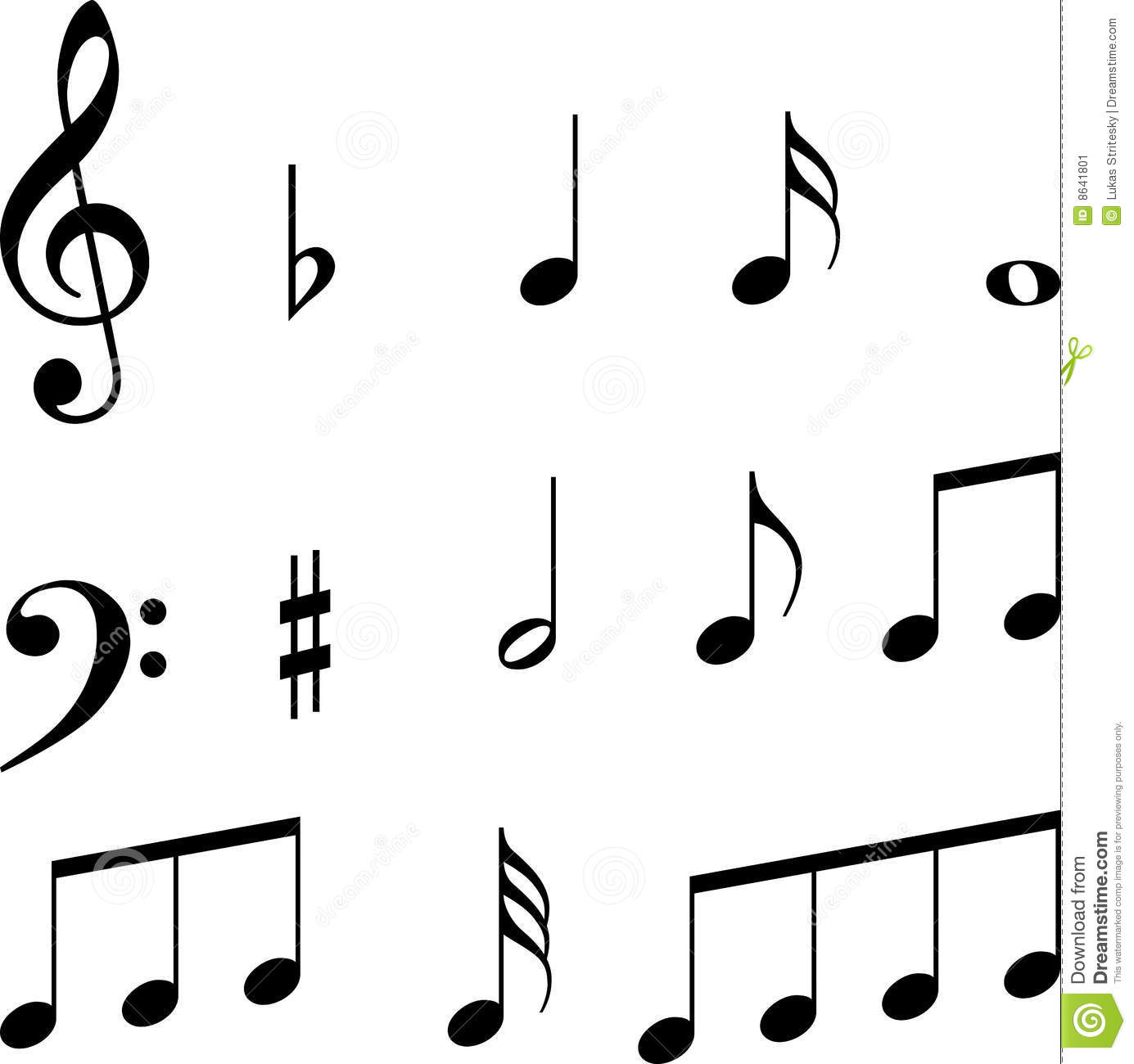 Musical notes symbols with keys (clef).