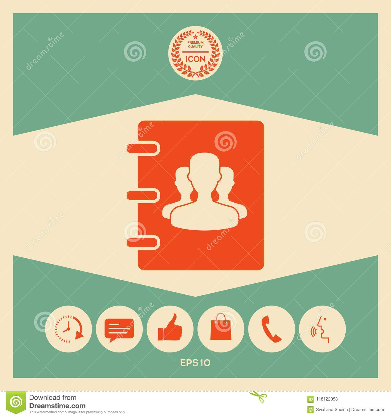 Notebook Address Phone Book Icon With Symbol Of Group People Stock