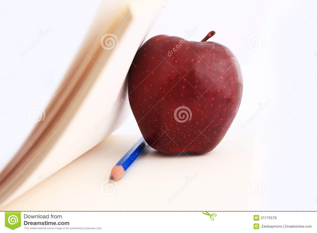 Notebook and Apple.