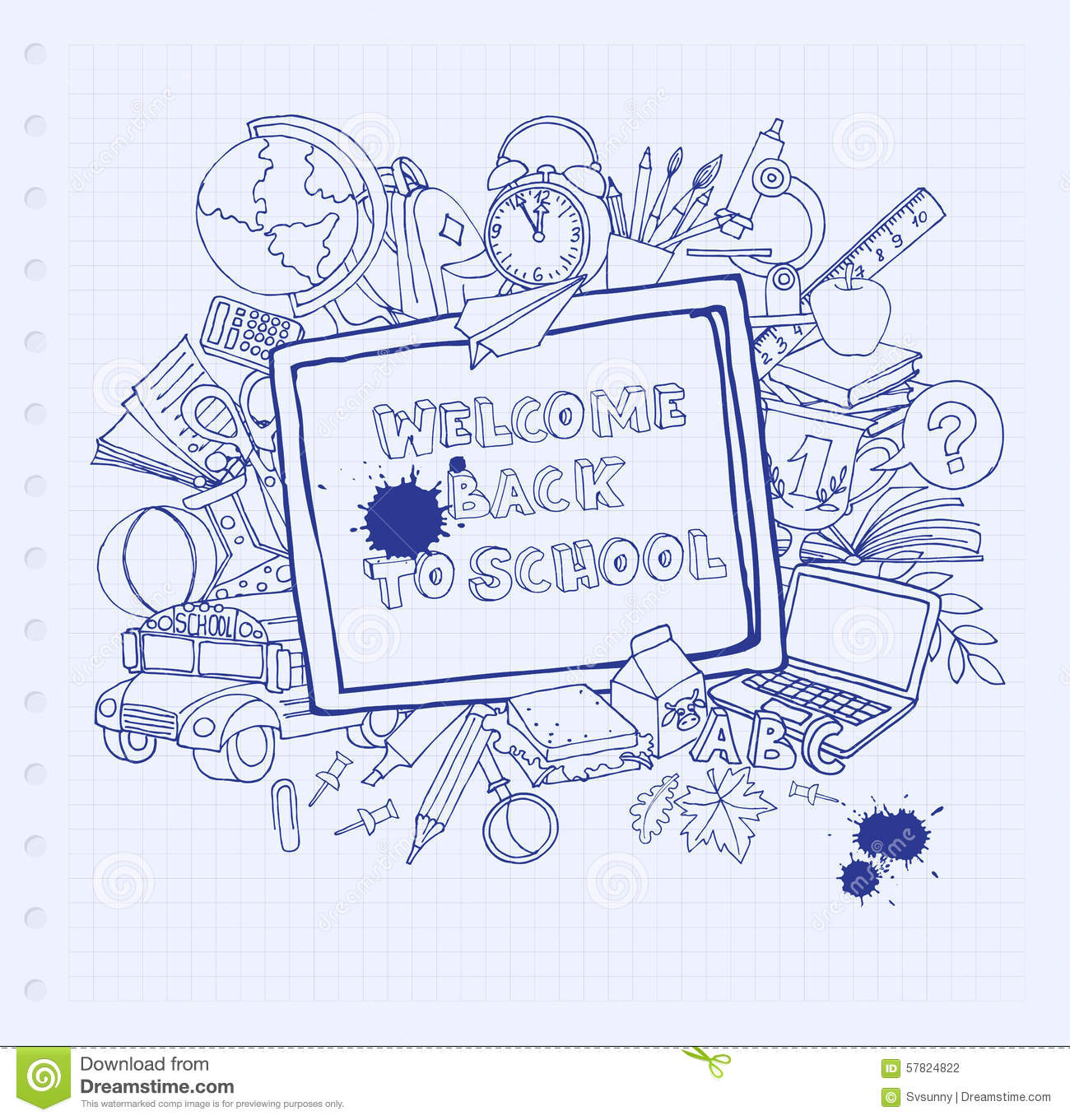 Welcome Back To School. Greeting Card. Back To School Design Stock ...
