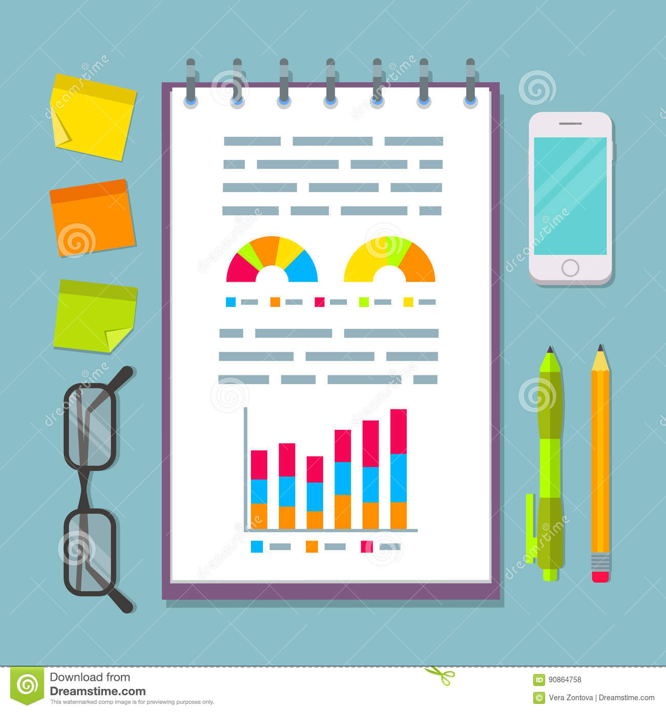 notebook with charts on business planning table stock vector