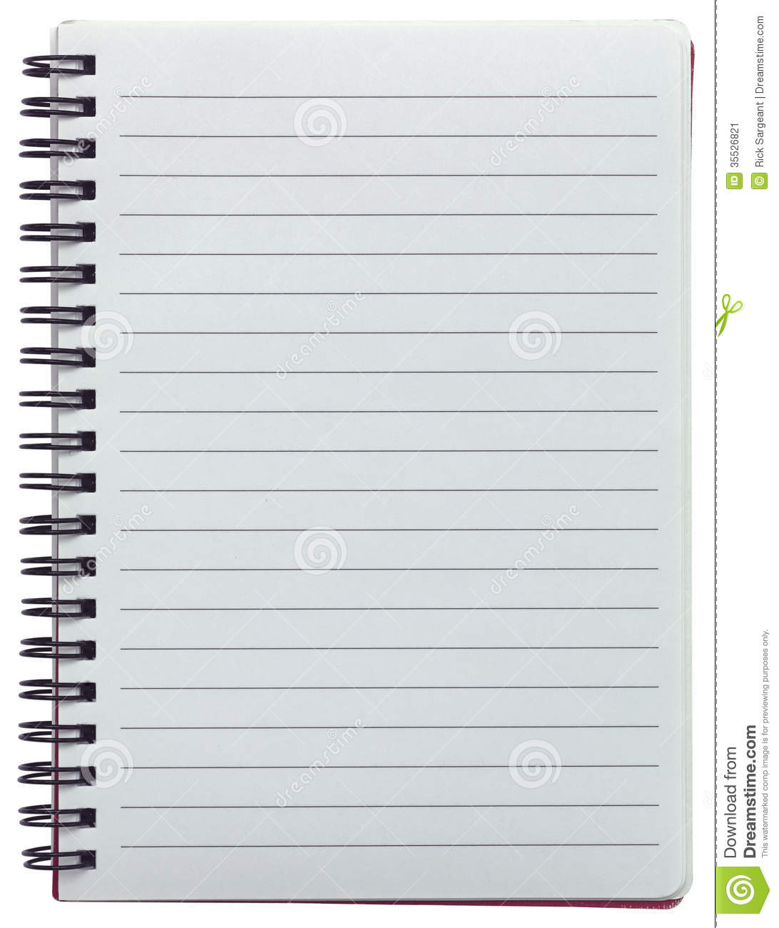 Spiral bound, lined blank notebook isolated on white background.