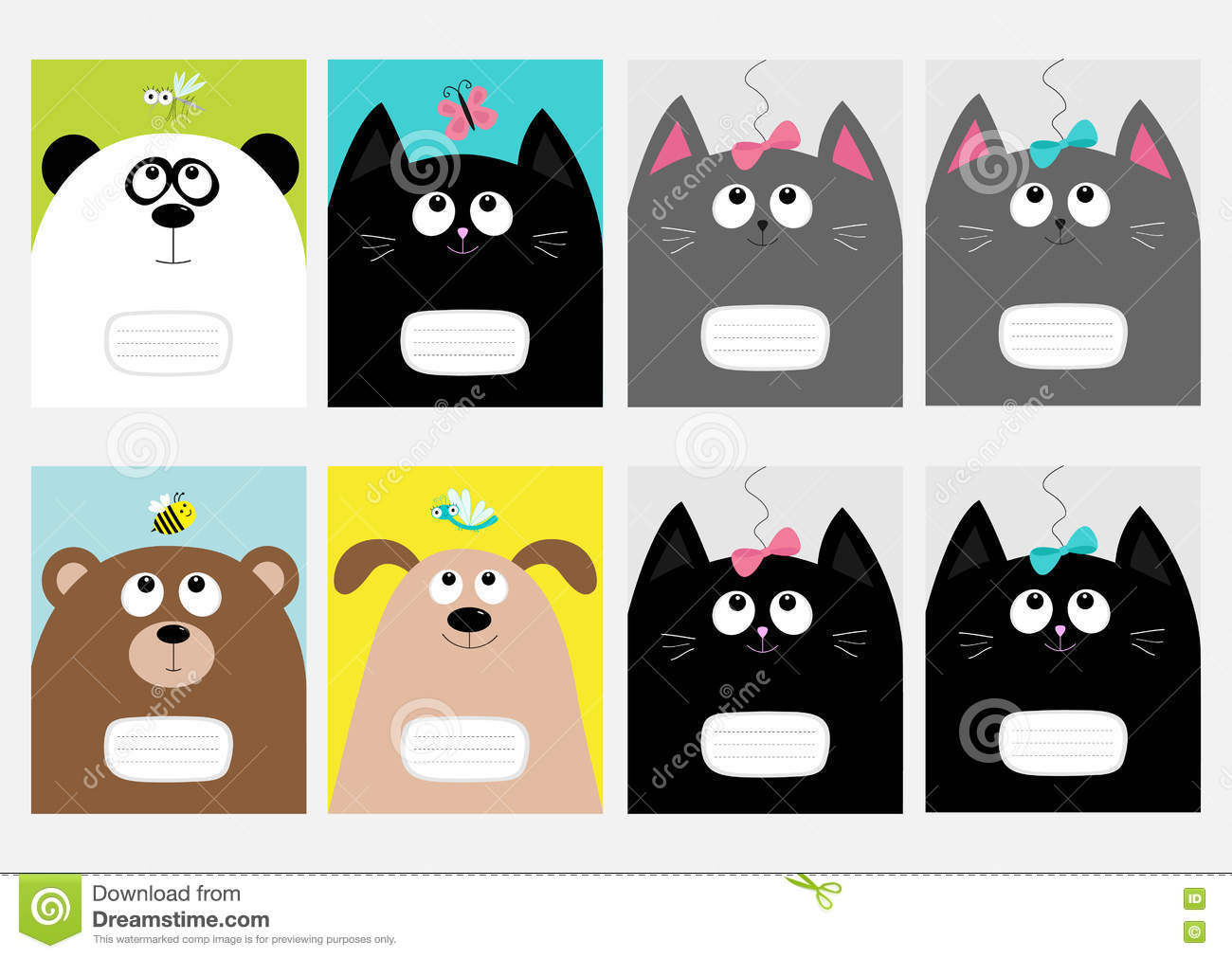 Download Notebook Cover Composition Book Template. Baby Cat, Panda, Dog,  Bear Kitty