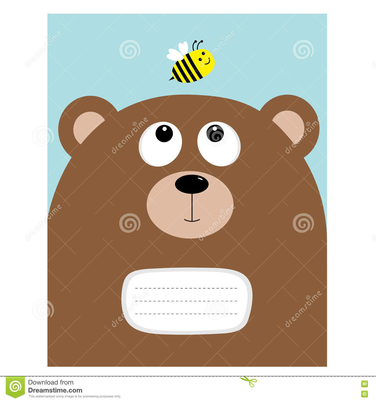 Notebook Cover Composition Book Template Bear Grizzly Big Head