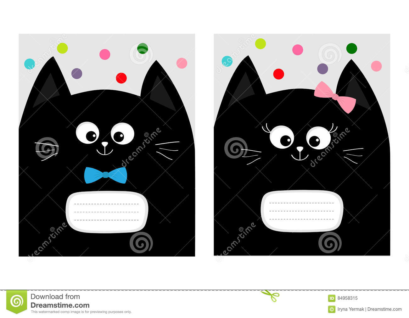Notebook Cover Composition Book Template Black Cat Kitty Head With