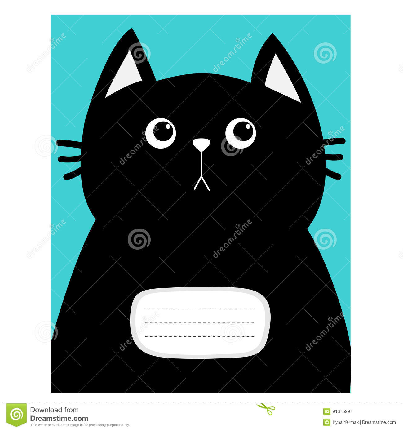 Notebook Cover Composition Book Template Black Cat Kitty Head Cute