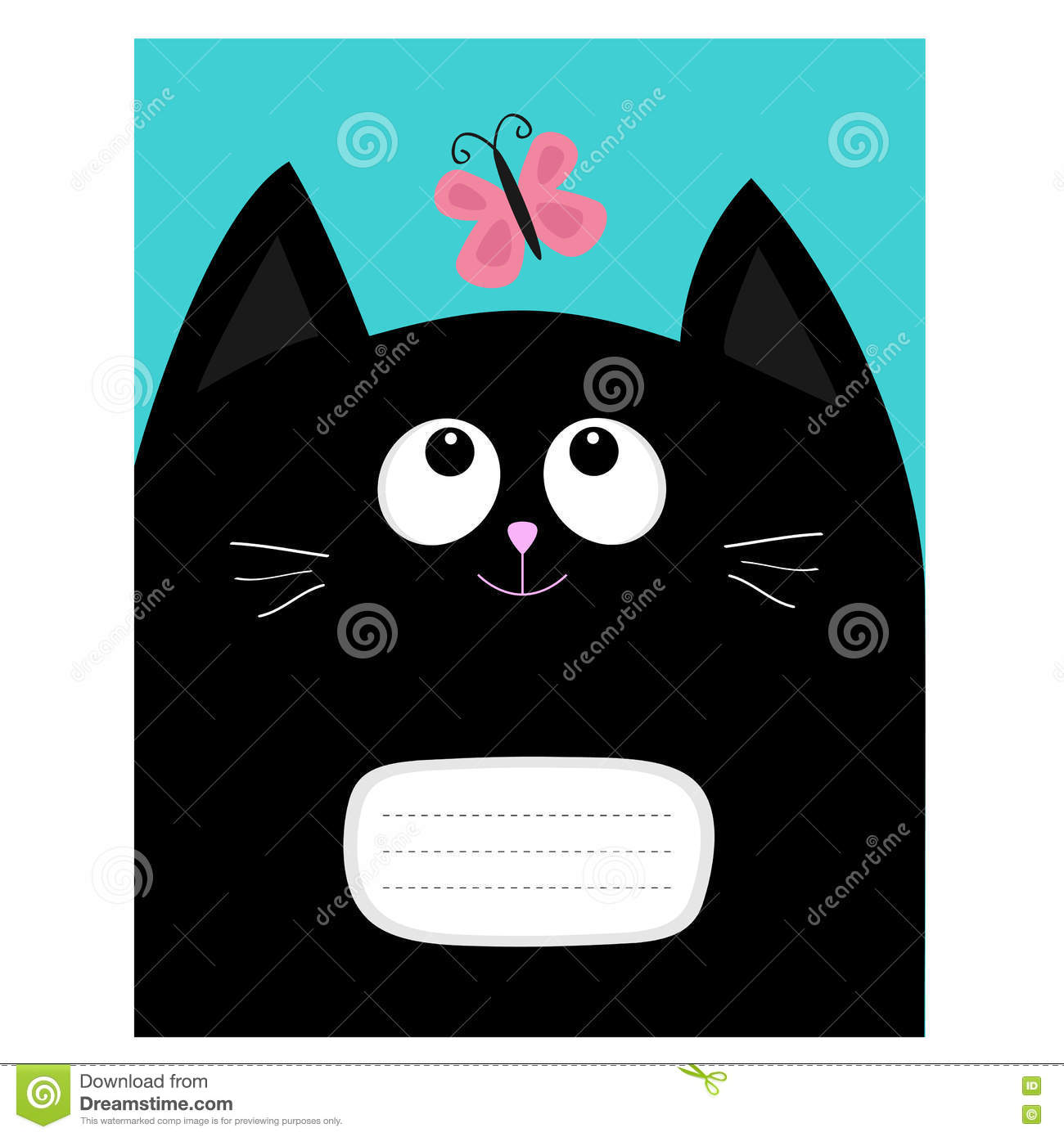 notebook cover composition book template black cat kitty head
