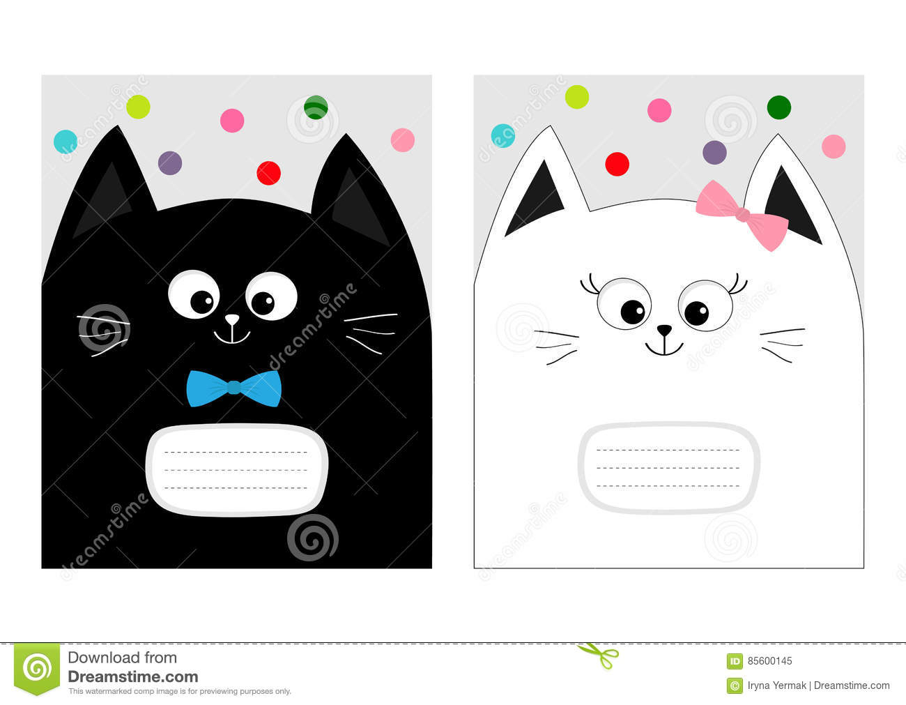 notebook cover composition book template black white cat kitty head with bow cute cartoon. Black Bedroom Furniture Sets. Home Design Ideas