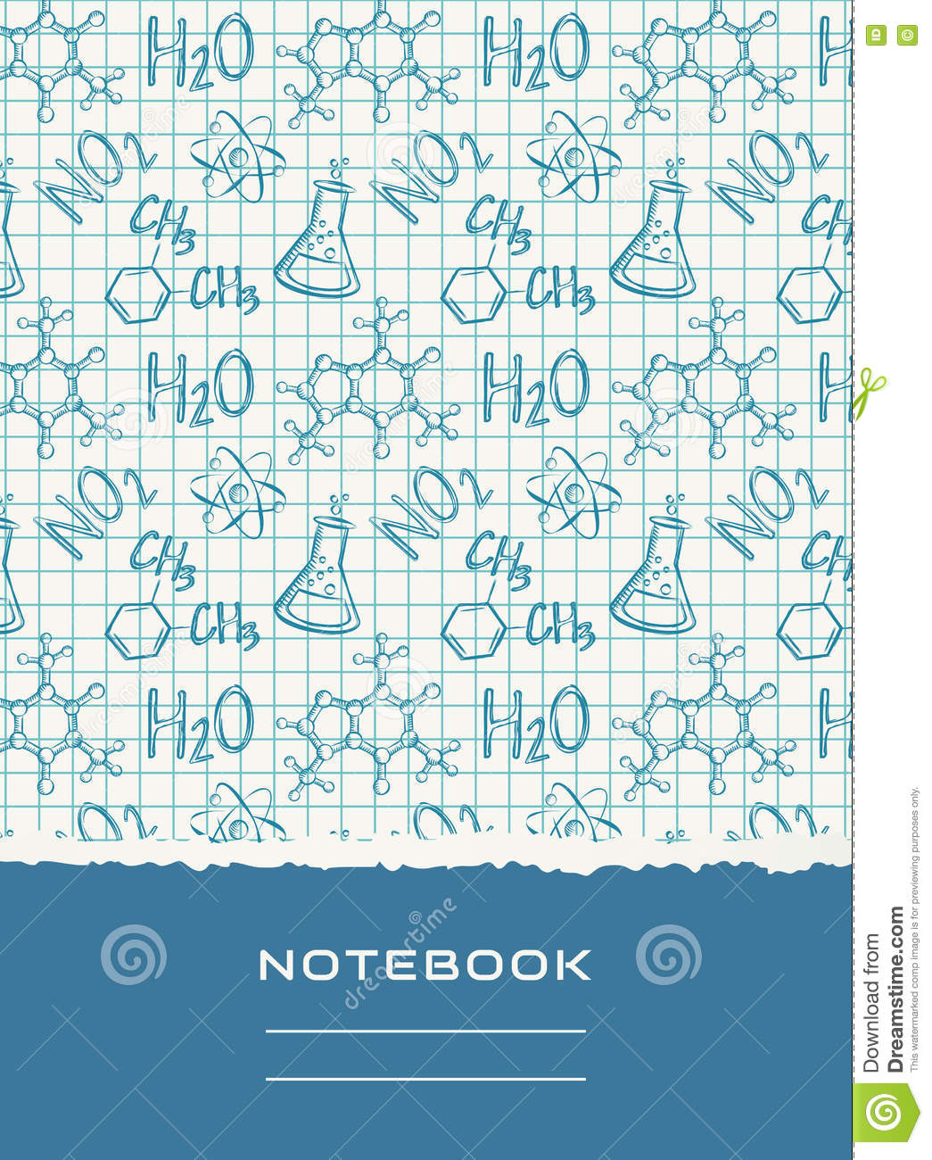 Science Design For Notebook: Notebook Cover Design. Vector Chemical Background. Stock