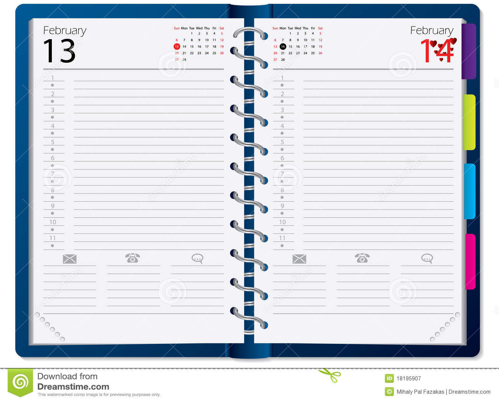 Calendar Notebook Design : Notebook design with calendar royalty free stock