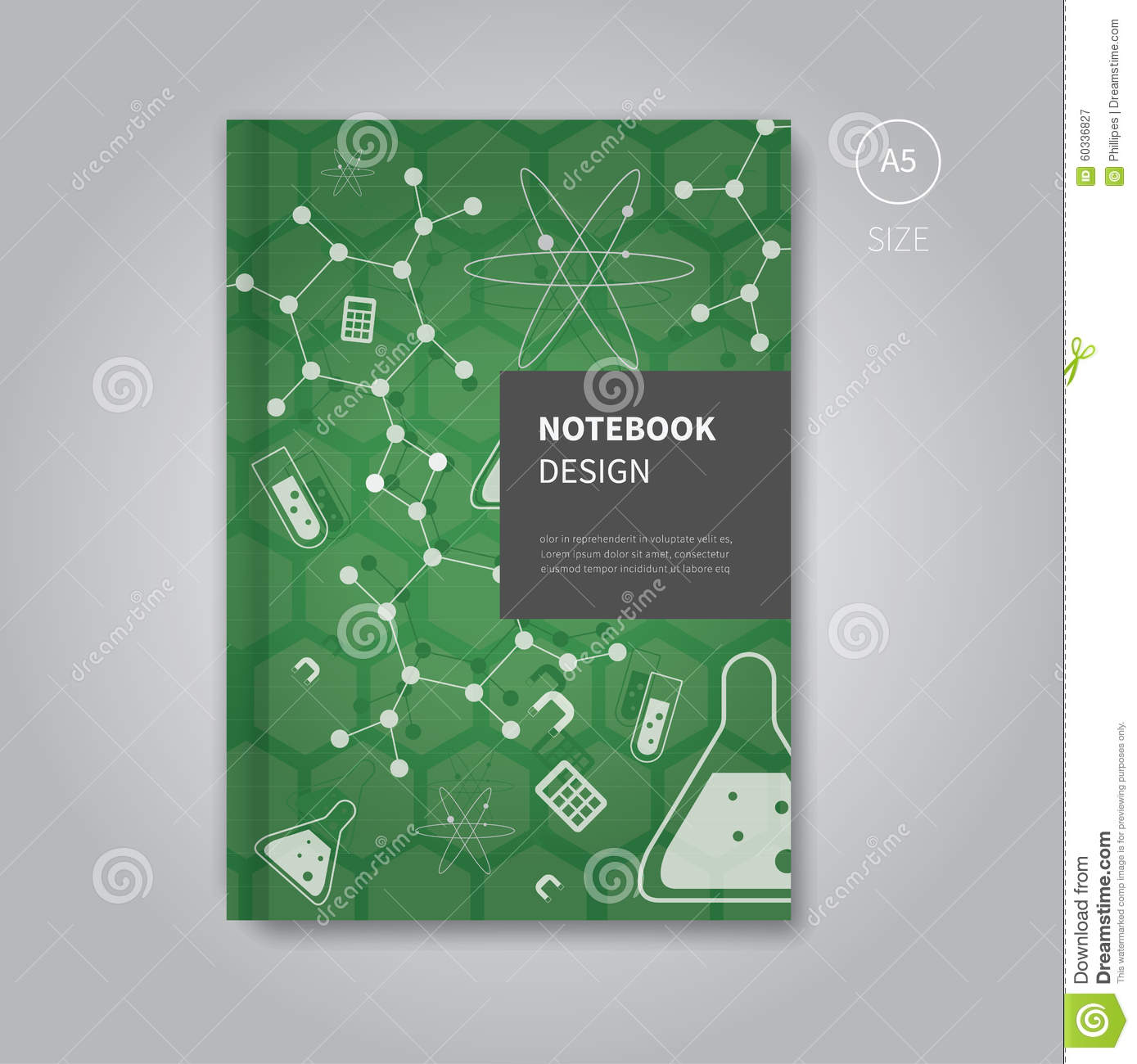 Science Design For Notebook: Notebook Design In Mathematics Template Style Stock Vector