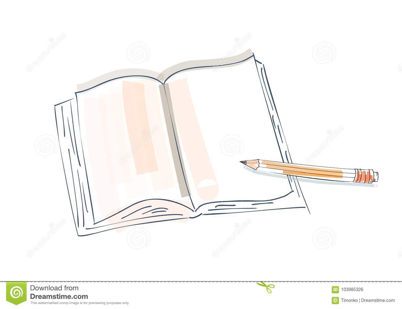 Notebook And Pen Sketch Stock Vector Art More Images Of: Notebook Doodle, Primitive Drawing Hand. Pen And Notebook