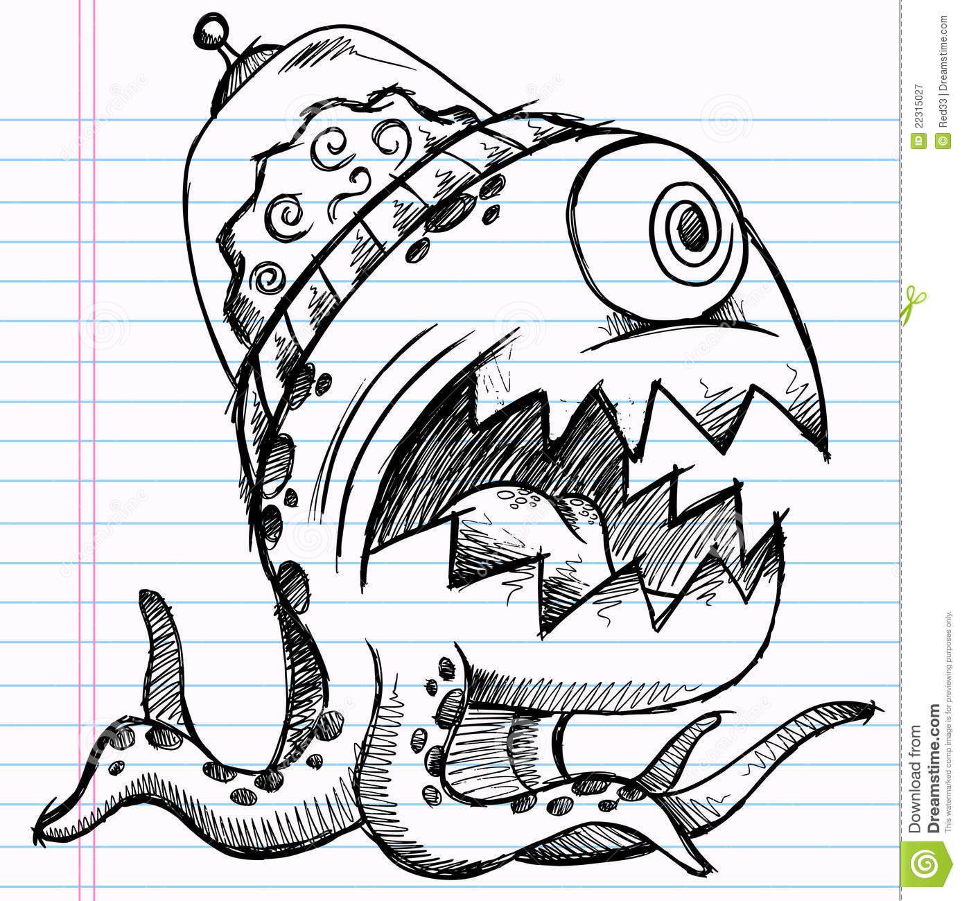 Notebook Doodle Sketch Alien Monster Royalty Free Stock