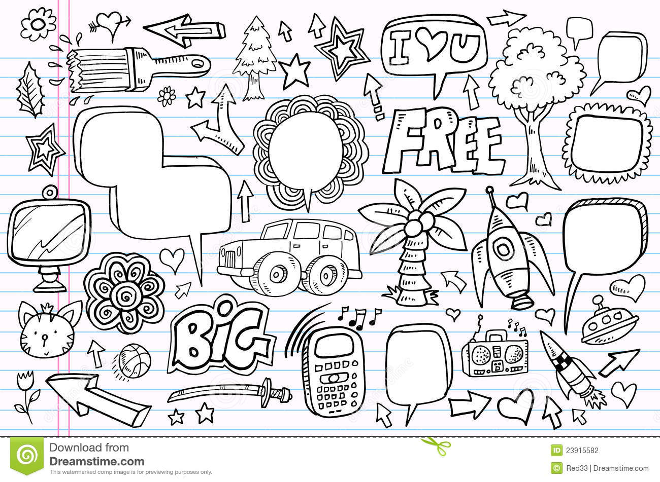 Notebook And Pen Sketch Stock Vector Art More Images Of: Notebook Doodle Sketch Vector Set Stock Photography