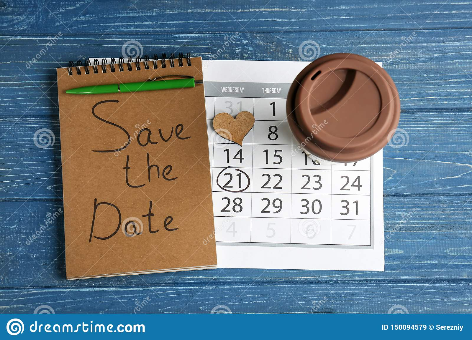 Notebook with inscription  Save the Date  , calendar and cup on color wooden background