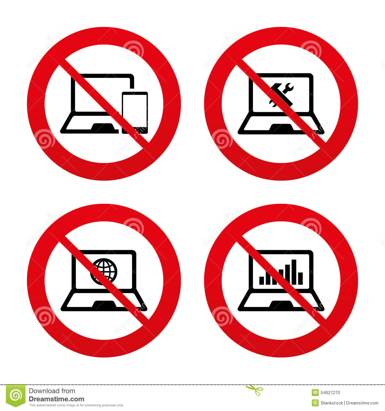 Notebook Laptop Pc Icons Repair Fix Service Stock Vector