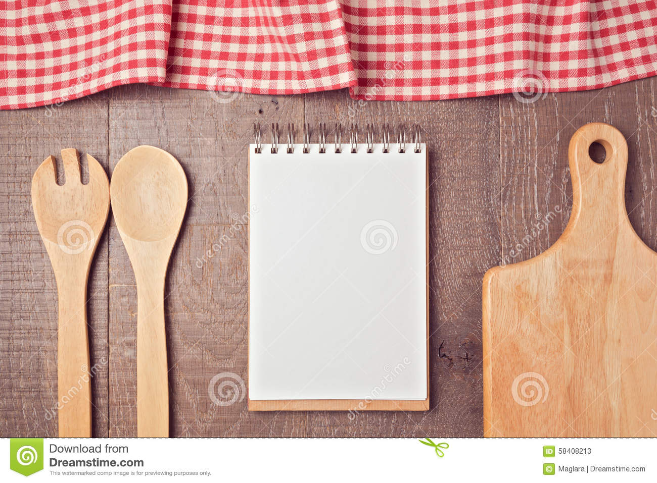 notebook mock up template with kitchen utensils and tablecloth view