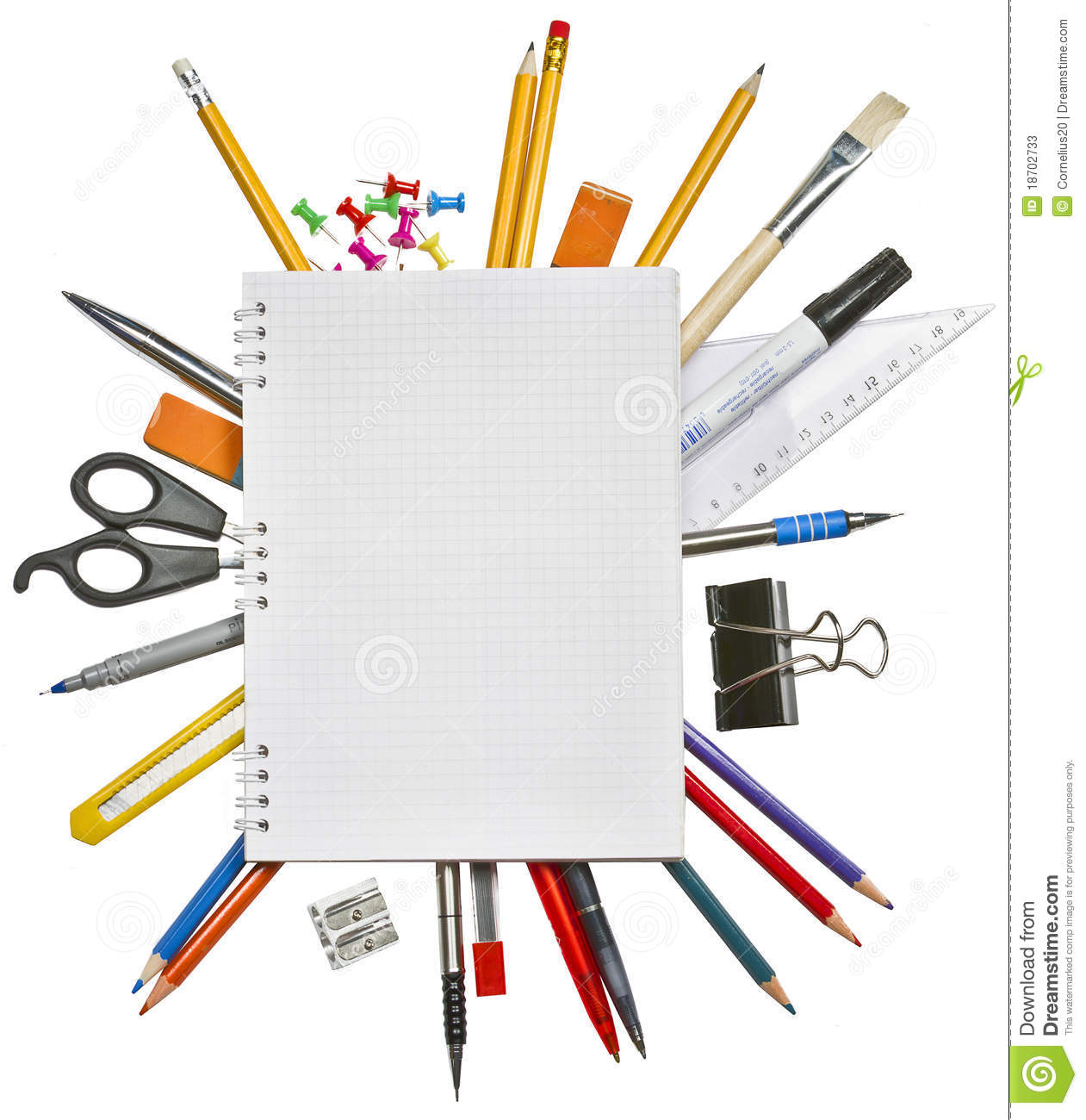 notebook and office supplies stock image image of color open