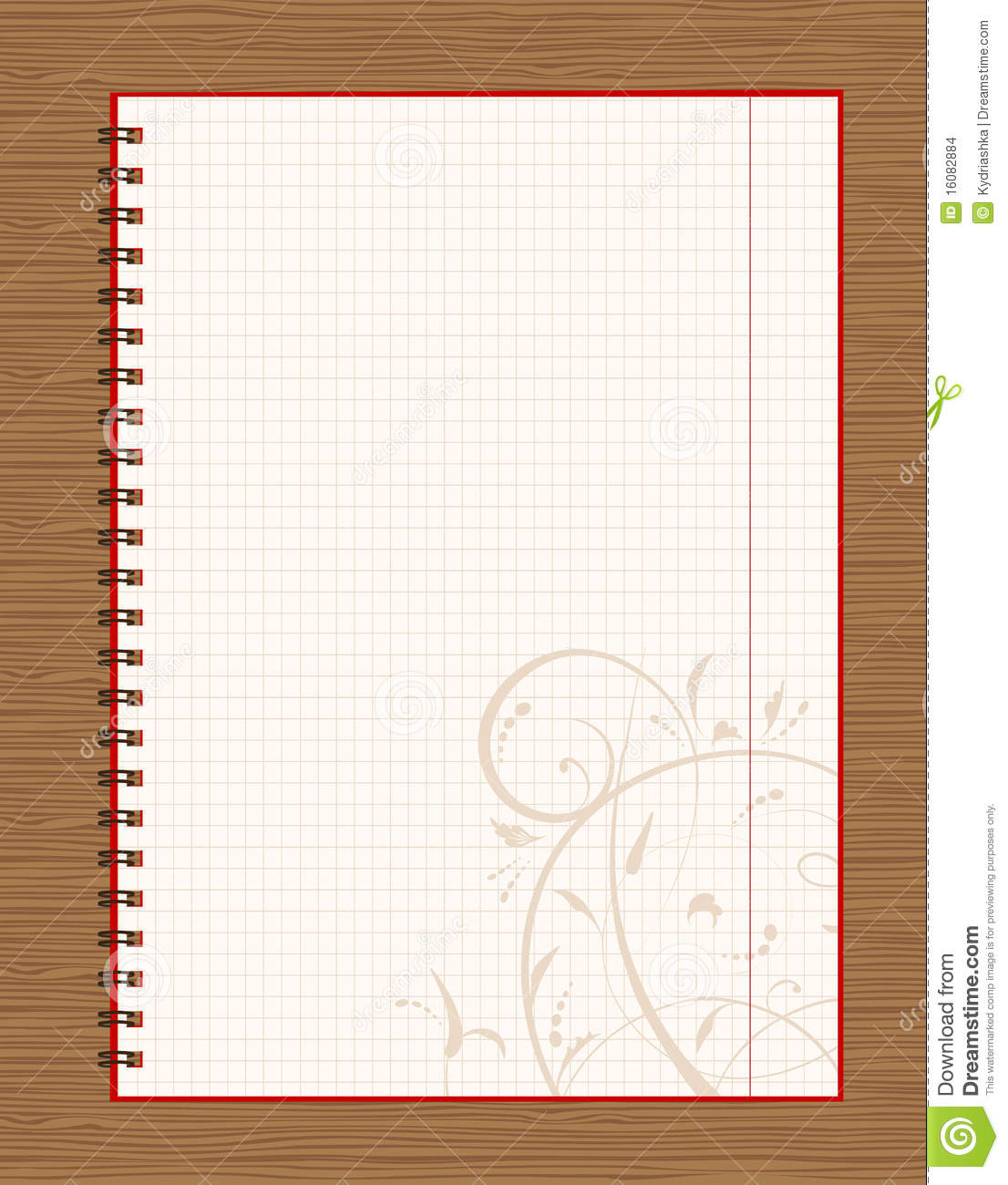 Notebook open page design on wooden background stock for Page decoration ideas