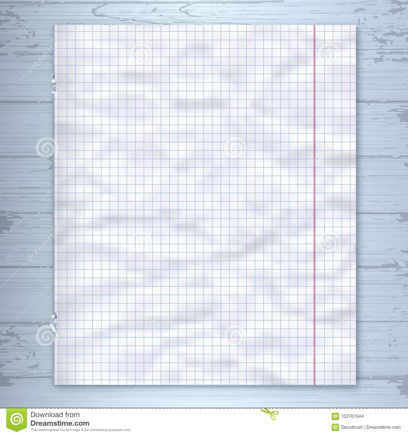 notebook page design template lined paper wooden background vector