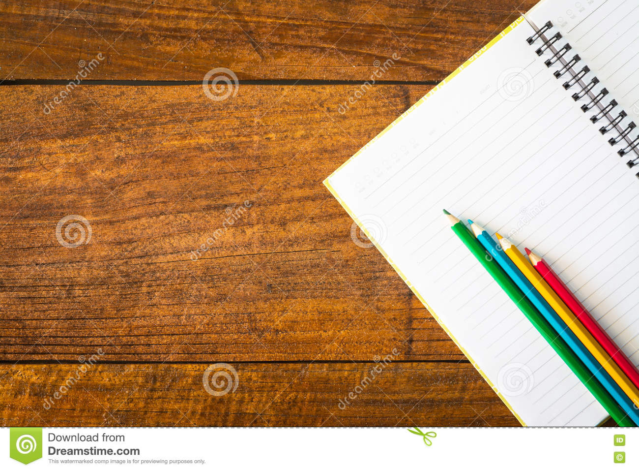 notebook paper and pencil on table stock photo image of
