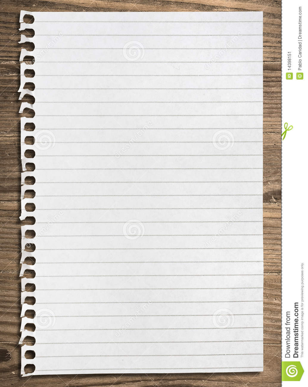 Notebook paper sheet stock image Image of page
