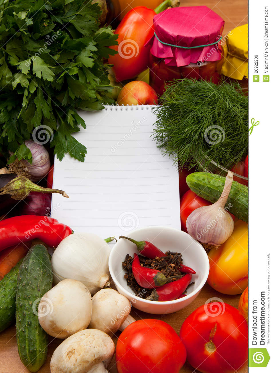 notebook paper to write recipes and vegetables royalty