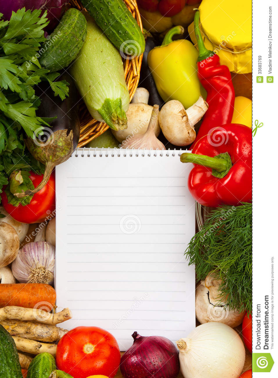 Notebook Paper To Write Recipes And Vegetables Stock Image