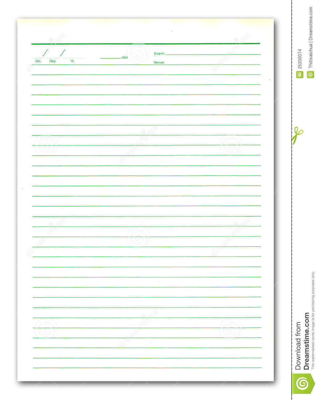 Notebook Paper On White Background Stock Images - Image ...
