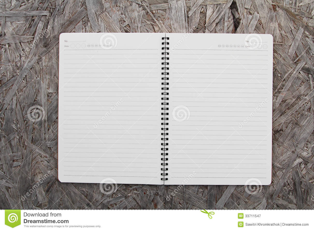 Notebook Paper On Wood Background Stock Image - Image of ...