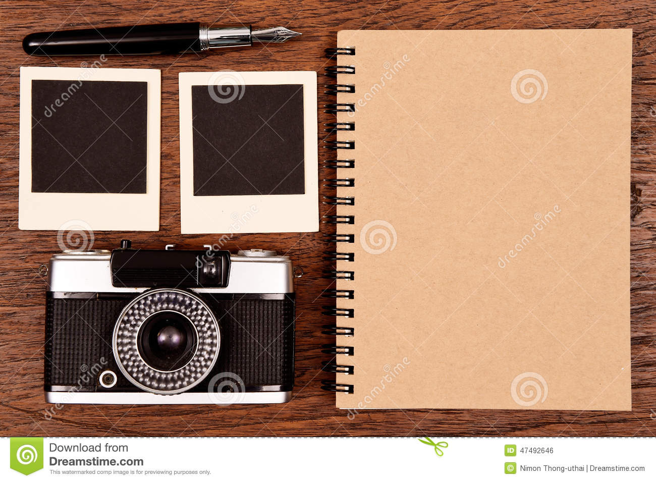 Notebook With Pen, Photo Frames And Camera Stock Photo - Image of ...