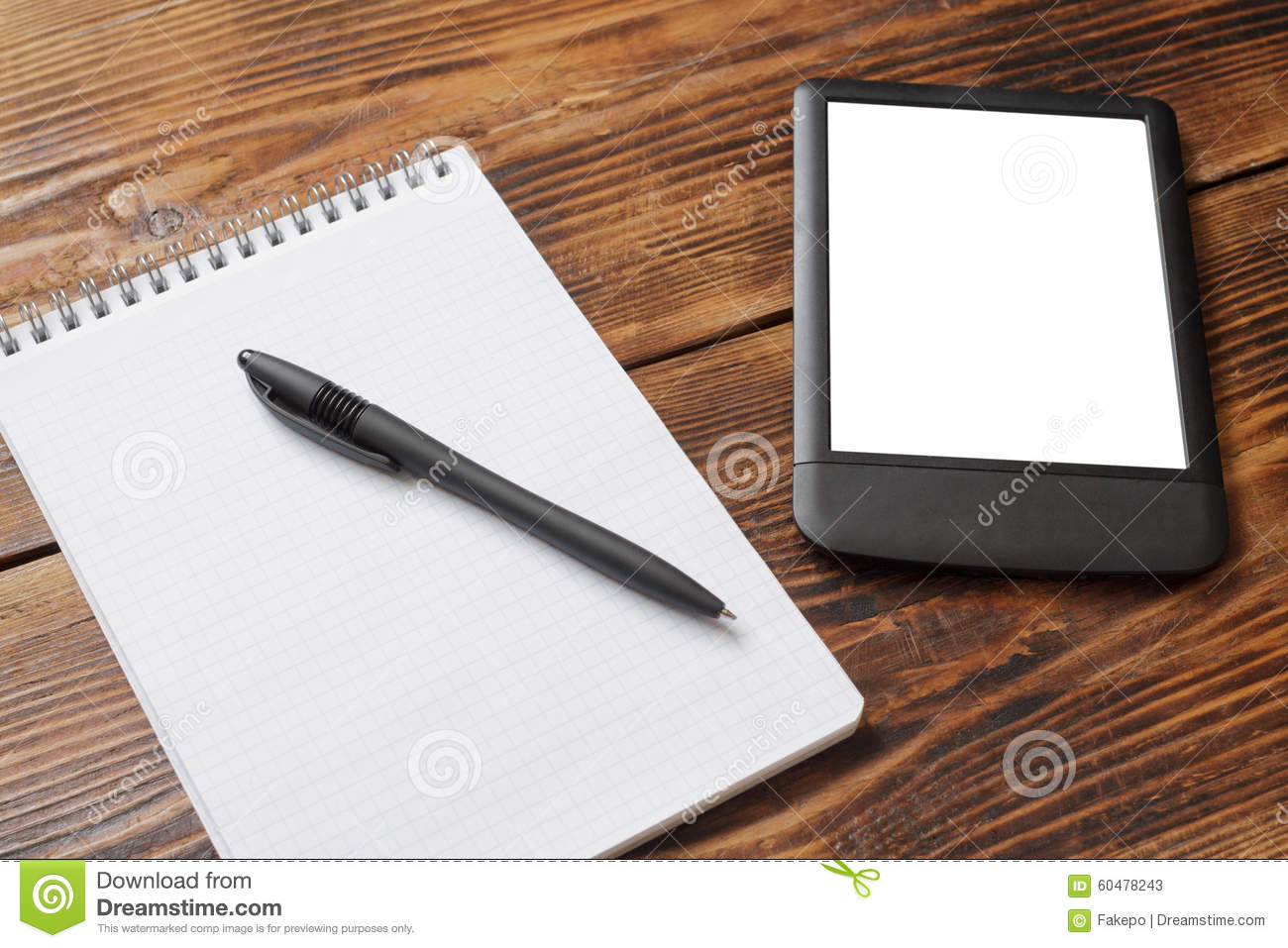 Notebook With Pen Tablet/e Reader On Wood Table Stock Photo Image . Full resolution‎  pic, nominally Width 1300 Height 957 pixels, pic with #82A229.
