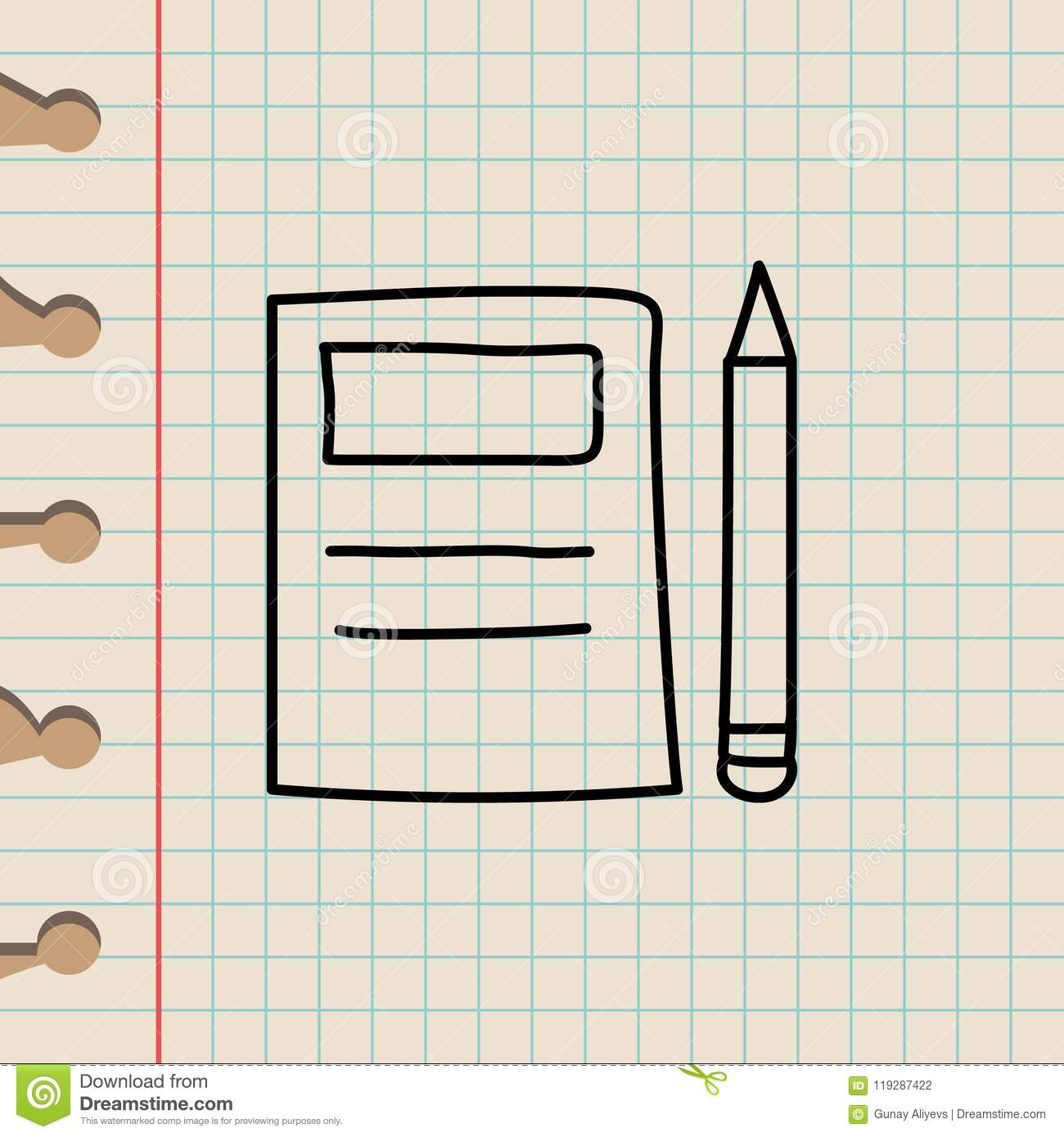 Notebook and pencil sketch icon element of education icon for mobile concept and web apps outline notebook and pencil sketch icon can be used for web and