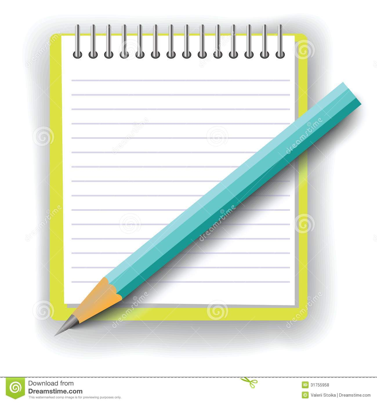 Notebook And Pencil On White Background Royalty Free Stock