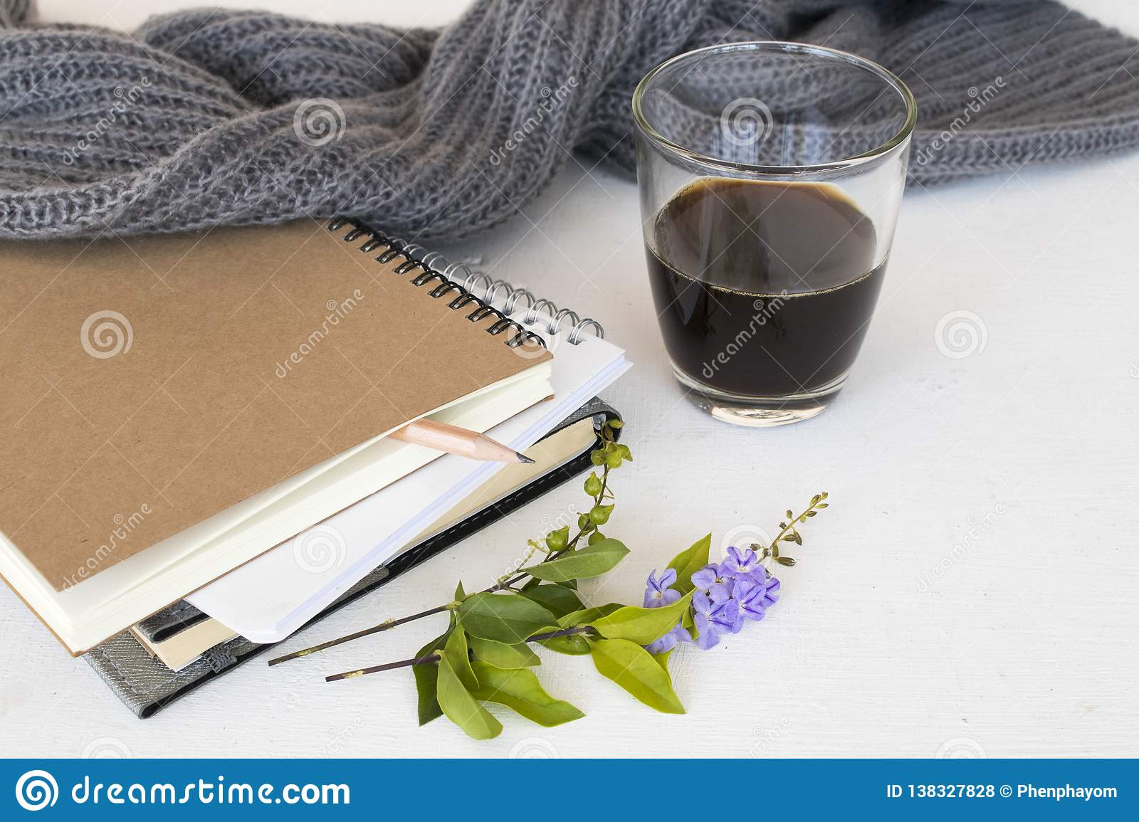 Notebook planner for business work and coffee