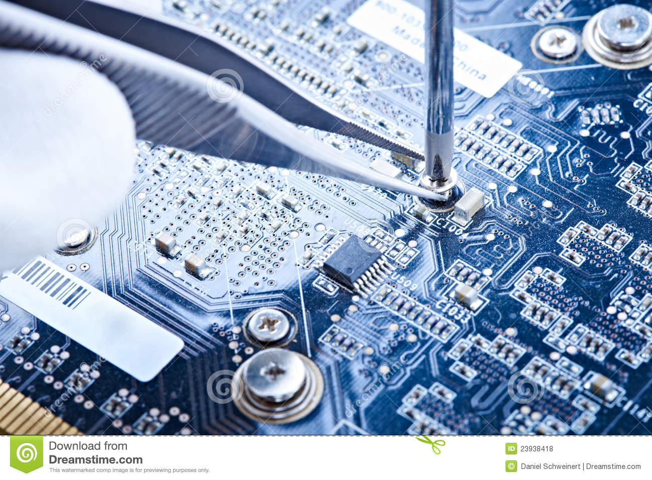 Notebook Repair Printed Circuit Board Stock Photo Image Of Computer With Electronics Components Royalty Free