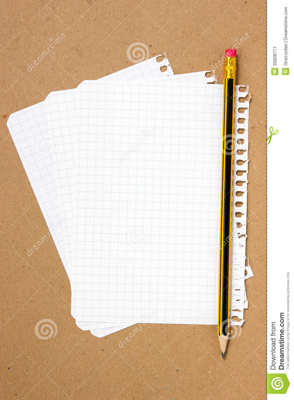 notebook sheet and pencil stock image